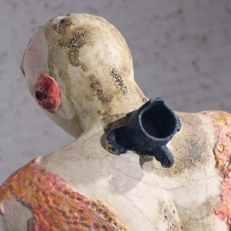 Original Ceramic Sculpture of Female Figure Holding Bird