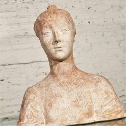 Vintage Art Nouveau, Art Deco Terracotta Plaster Female Bust