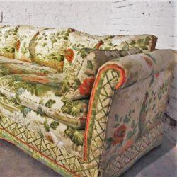 1970's Pheasant Motif Sofa and Ottomans