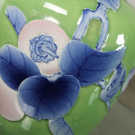 Vintage Large Ceramic Green Vase Lamp w/Blue & Lavender Bird, Branches & Fruit Chinoiserie Design