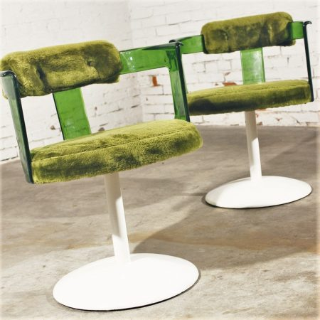 Green Lucite Mod Tulip Chairs by Daystrom Vintage Mid Century Modern circa 1970