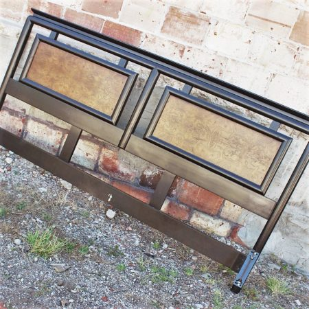 Vintage Century Furniture Chin Hua An Asian Style Headboard in Ebonized Maple and Burl Ash