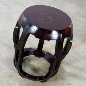 Vintage Asian Rosewood Garden Stool or Barrel Drum Table with Brass Inlaid Design
