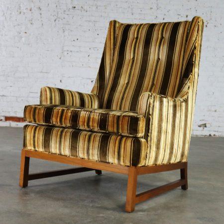 Vintage Lounge Chair After Edward Wormley for Dunbar Larsen Style Stripe Velvet