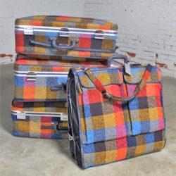 Four Piece Mod Plaid 1970s Luggage Set by Skyway