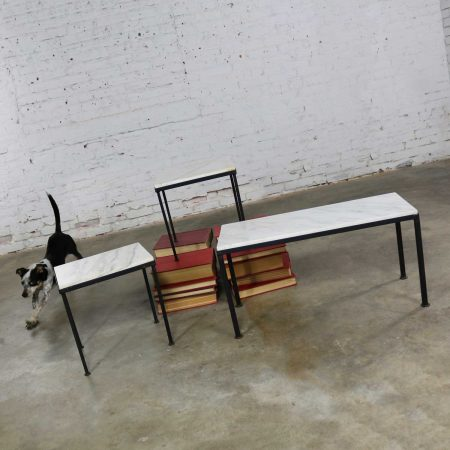 Trio of Small Black Iron Frame White Marble Topped Tables for Indoors or Out
