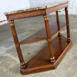 Neoclassic Palladian Style Console Table with Italian Marble Top by Heritage Furniture