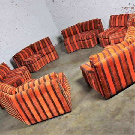 Curved Six Piece Milo Baughman Style Sectional Sofa by Bernhardt Flair Mid Century Mod