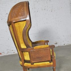 Neoclassical Style Hooded Cane Porter's Chair Vintage