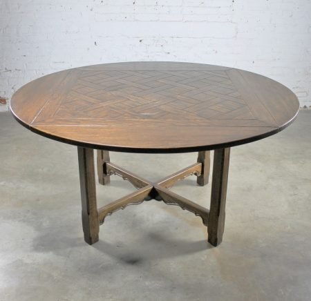 Vintage Oak Square-Round Pub Table Distressed Old English Style with Parquet Top