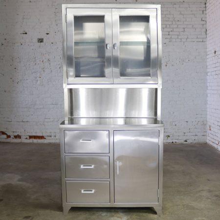 Vintage Stainless Steel Cupboard Industrial Medical Step Back Cabinet-1