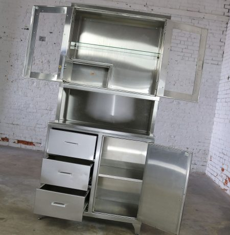 Vintage Stainless Steel Cupboard Industrial Medical Step Back Cabinet-2