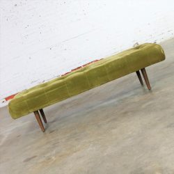 Biscuit Tufted Upholstered Mid Century Hollywood Regency Bench
