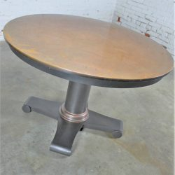 Round Copper Top Dining Table with Steel Pedestal Base