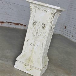 Antique Ornate Plaster Pedestal from Old Church