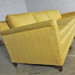 Vintage Mid Century Four Cushion Extra Long Lawson Style Golden Yellow Sofa