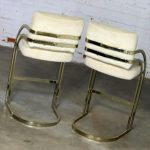 Pair Milo Baughman Style Cantilever Brass Plated Bar Stools MCM