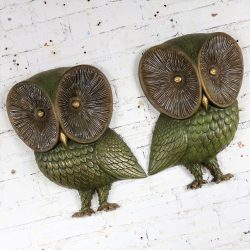 Owl Wall Hanging Sculpture Plaques by Burwood Product Co. Mid Century Modern Pair