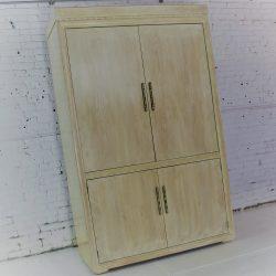 Vintage Henredon Large Blonde Brutalist-Style Entertainment or Storage Cabinet