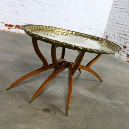 Vintage Indian Moroccan Style Oval Tray Top Spider Leg Coffee Table