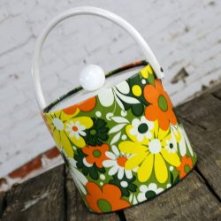 Mid Century Mod Daisy Ice Bucket by Jack Frost Orange Green Yellow White