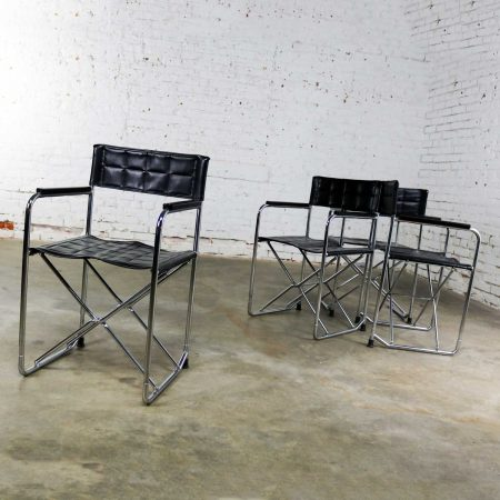 Folding Campaign Style Director's Chairs Black Vinyl & Chrome Style of Gae Aulenti Set 4