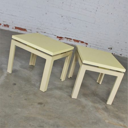 Pair of Modern Circa 1970s Off-White Lacquered Parsons Side Tables