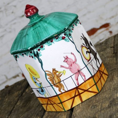 Mid Century Italian Octagonal Pottery Cookie Jar Decorated with an Animal Brass Band