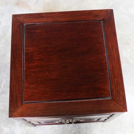 Vintage Petite Asian Rosewood Square End Table Cabinet Style George Zee of Hong Kong