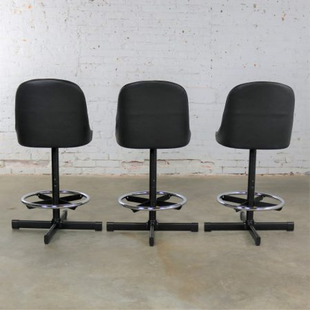 Mid Century Modern Samsonite Bar or Counter Stools 1 Set NOS 3 Black