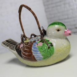 Small Antique Japanese Banko Ware Figural Bird Teapot with Wrapped Rattan Handle