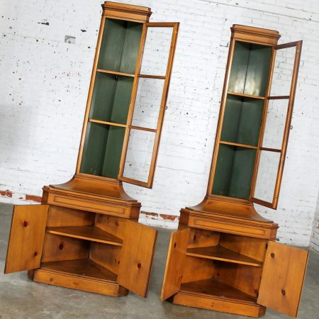 Knotty Pine Distressed Corner Cabinets Pair by Weiman Heirloom Quality Tables