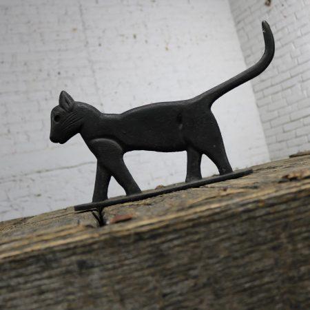 Antique Black Cat Silhouette Cast Iron Folk Art Boot Scraper Sculpture