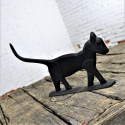 Antique Black Cat Silhouette Cast Iron Folk Art Boot Scraper Sculpture