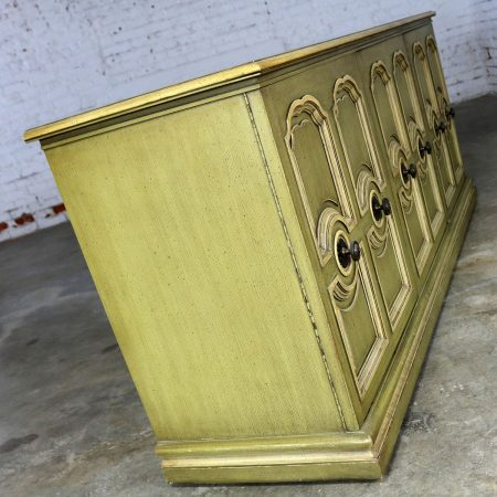 Hollywood Regency Credenza Green and Ivory by Henredon Style of Dorothy Draper