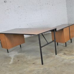 Mid-Century Modern Imperial Desk Company Walnut Laminate and Black Metal Desk with Return