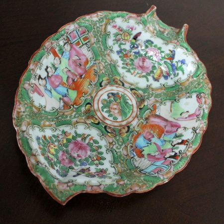 Antique Chinese Qing Rose Medallion Porcelain Leaf Shaped Dish or Tray
