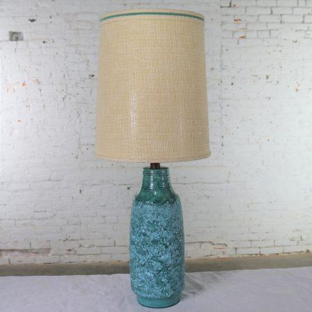 Large Mid Century Modern Turquoise Lava Glaze Ceramic Table Lamp after Fantoni