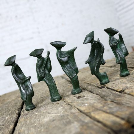 Patinated Cast Iron Geisha Figures Set of Five