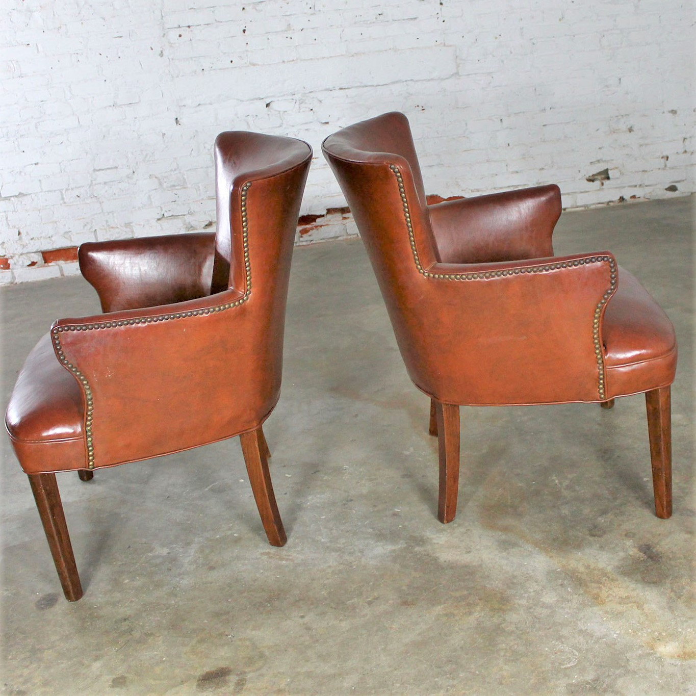 Admirable Art Deco Pair Of Petite Brown Faux Leather Arm Chairs With Inzonedesignstudio Interior Chair Design Inzonedesignstudiocom