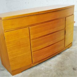 Vintage Mid-Century Modern Mahogany Bow Front Buffet Cabinet