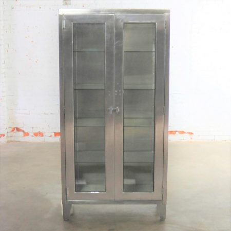 Vintage Stainless Steel Industrial Display Apothecary Medical Cabinet with Glass Doors and Shelves-6