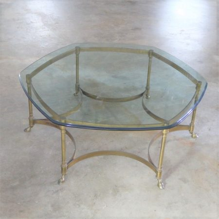 Neoclassical Hollywood Regency Brass and Glass Hexagon Coffee Table with Hoof Feet