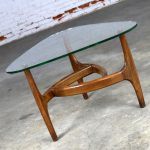 Adrian Pearsall Style Triangular Glass Top Side Table Mid Century Modern