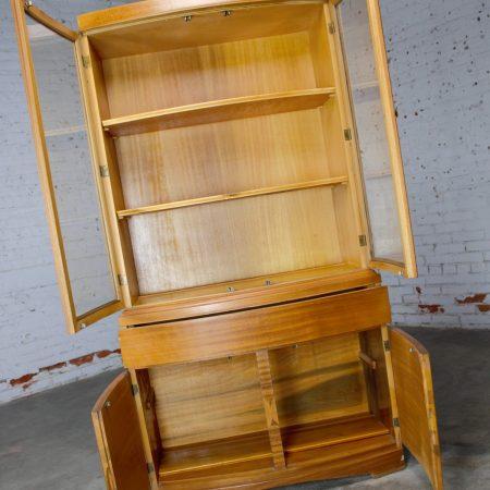 Vintage Mid-Century Modern Mahogany Small China Hutch Cabinet