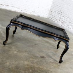 Louis XV Style Black Coffee Table with Gilt Chinoiserie Details