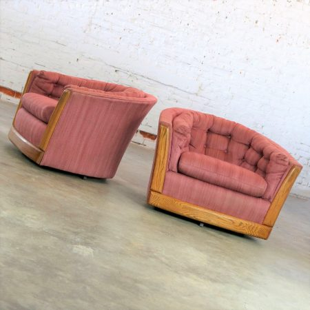 Pair of Swivel Barrel Chairs with Oak Trim Style of Milo Baughman or Harvey Probber