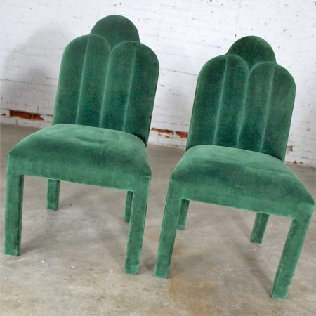 Hollywood Regency Art Deco Revival Cloverleaf Top Green Velvet Parson Style Dining Chairs Set of Four