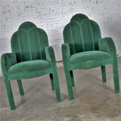 Hollywood Regency Art Deco Revival Cloverleaf Top Green Velvet Parson Style Dining Chairs Set of Four