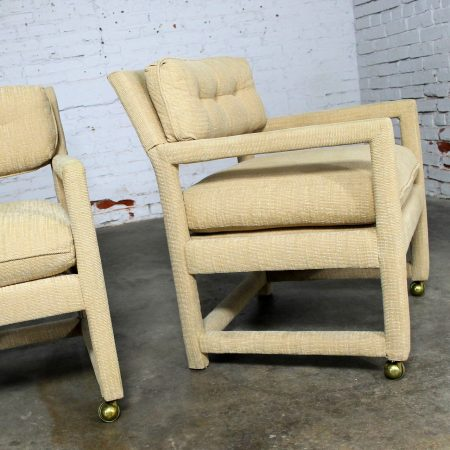 Parsons Style Rolling Club Arm Chairs Attributed to Milo Baughman MCM Vintage